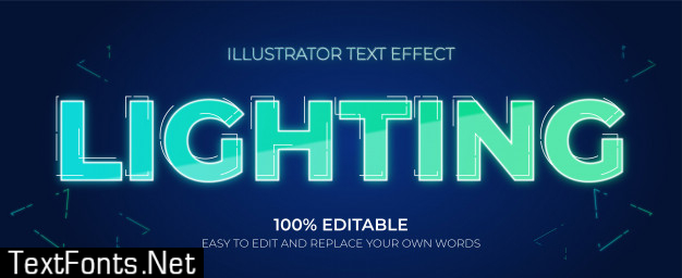 Editable text effects - lighting text effects
