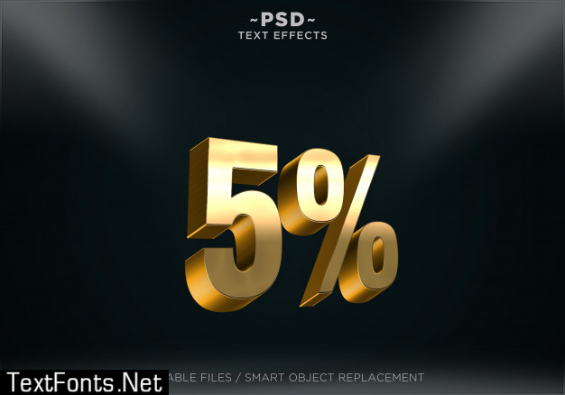 Golden discount style editable text effects
