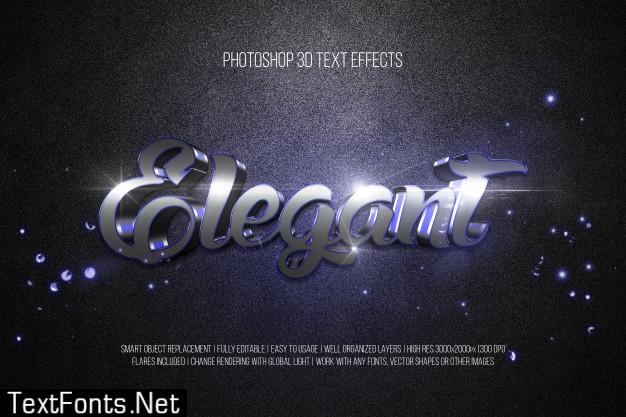 Photoshop 3d text effects elegant
