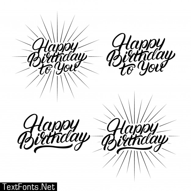 Set of happy birthday to you hand written lettering.