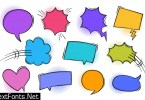 Super set retro colorful comic book text speech bubble