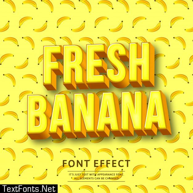 3d bold banana text effect