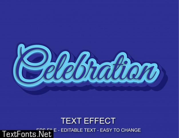 Editable text effect celebration style
