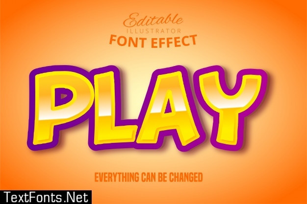 Play text, 3d purple and yellow editable font effect