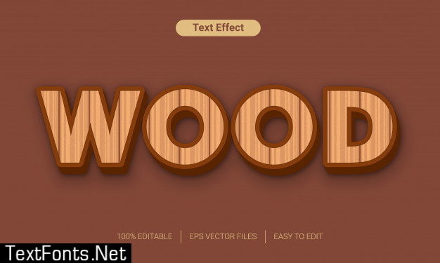 Wood 3d text style effect