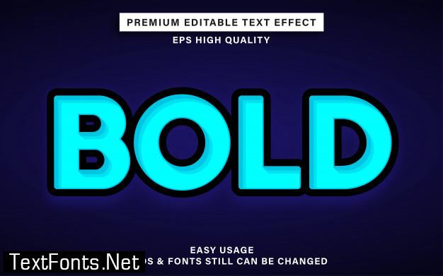 Blue bold editable text effect