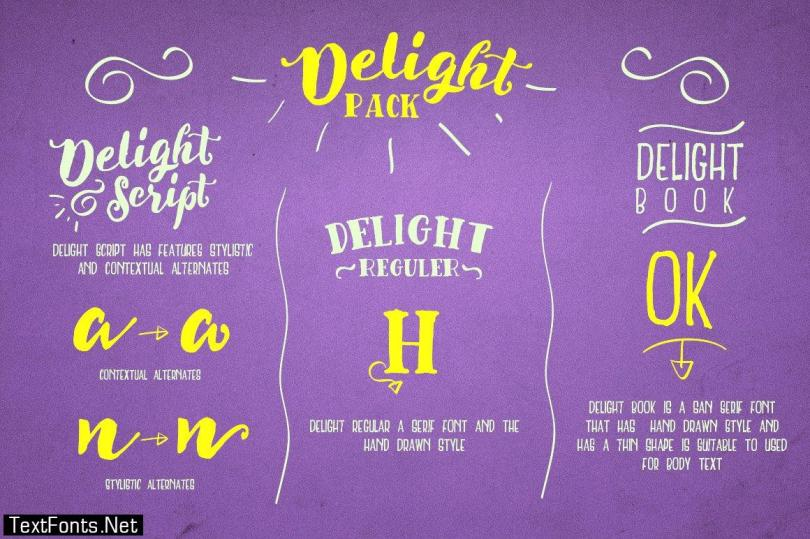 Delight Font Pack & Extra 340596