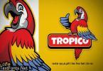 happy scarlett macaw bird logo