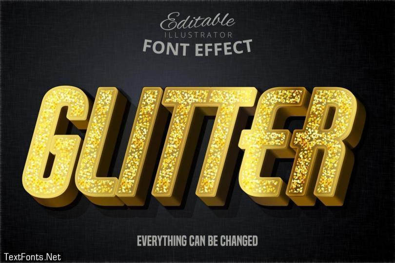 Modern glitter script editable typography font effect