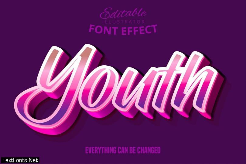 Modern youth script editable typography font effect