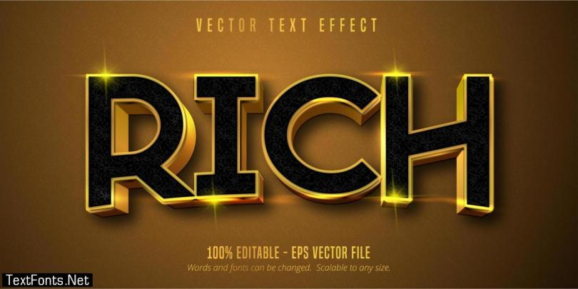 Rich shiny gold style editable text effect