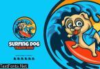 Surfing Dog Cartoon Logo KF8BABU