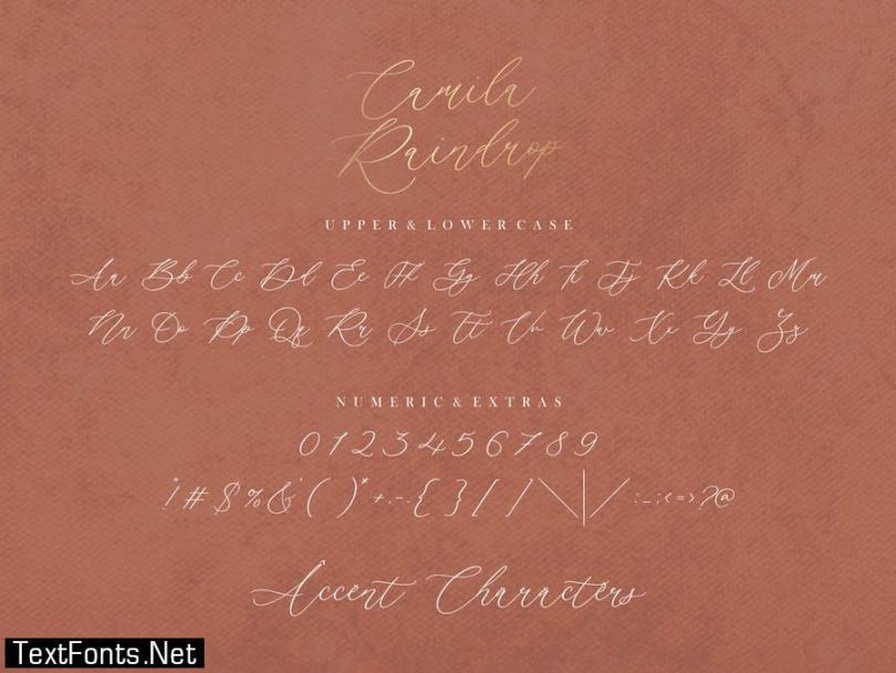 Camila Raindrop Script Font YH