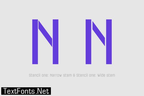 Necia Stencil Family Font
