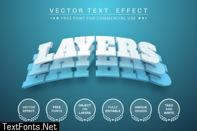 3D Layers - editable text effect, font style N2GMZAB