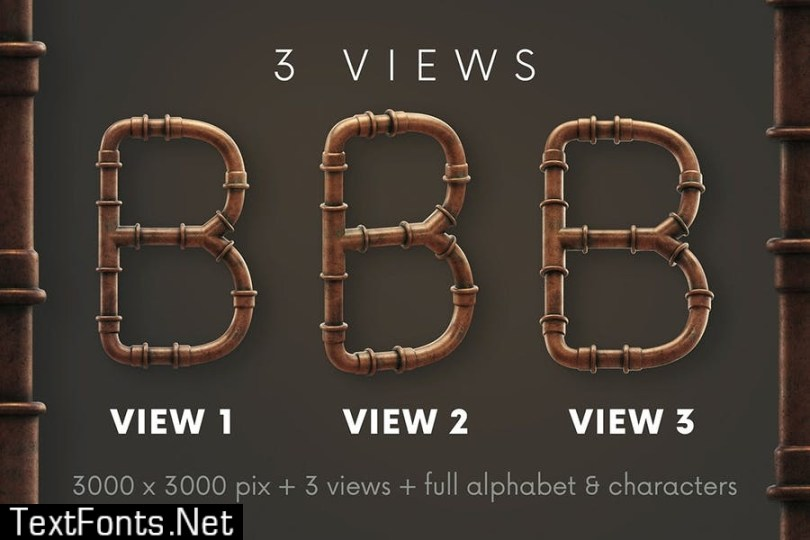Copper Pipes - 3D Lettering