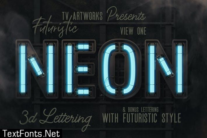 Futuristic Neon 3D Lettering View 1