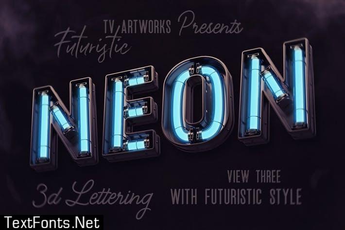 Futuristic Neon 3D Lettering View 3
