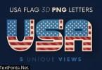 USA Flag - 3D Lettering