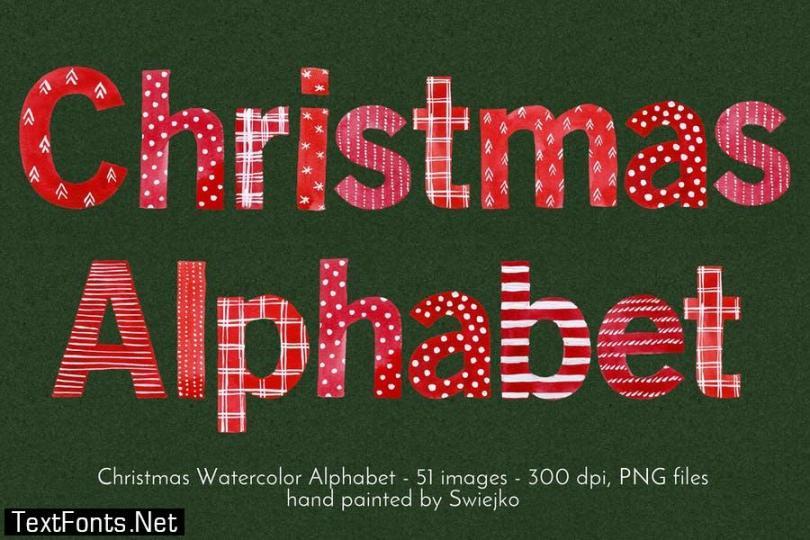 Watercolor Christmas Alphabet