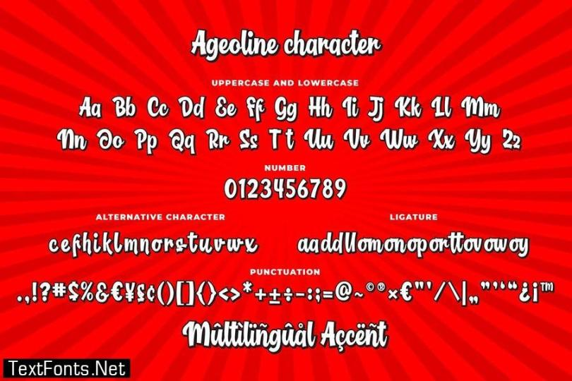 Ageoline Bouncy Script Font