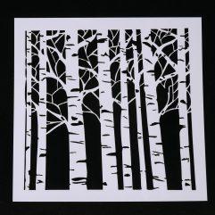 Textielverf en meer stencil 13x13cm bomen