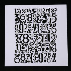 Textielverf en meer stencil 13x13cm cijfers