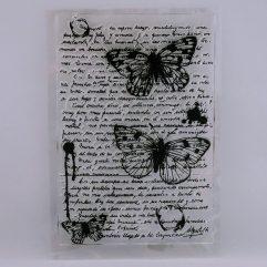 Textielverf en meer stempel vlinders met tekst