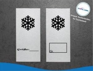 Textiletiketten mit Schneeflocke zur Größenbeschriftung