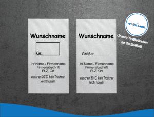 Gewerbe Textiletikett ohne Materialzusammensetzung mit Wunschname Pflegesymbole in Textform GT005GT006