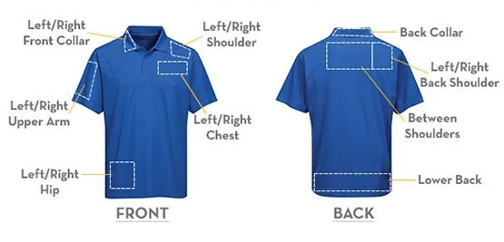 Prime Locations for Embroidery for ladies short sleeve polo