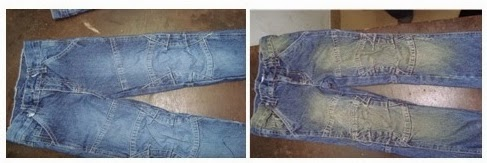 Before pp spray and after pp spray denim
