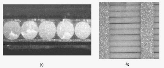 Cross section (a) and top view (b) of Continuum Control's Active Fiber Composite using an experimental electrode system. Note conformability of electrode around fiber. Fiber diameter is 130 micrometers; electrode spacing is 1 mm with a width of 0.5 mm.