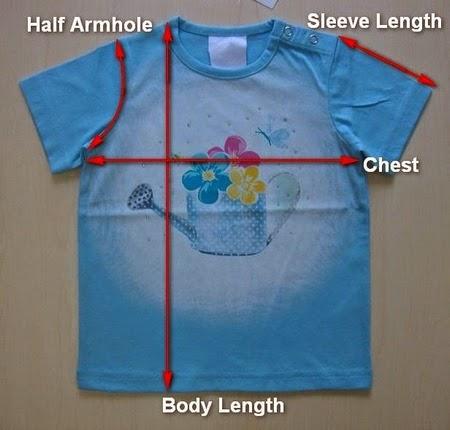 T-shirt & its measurement point