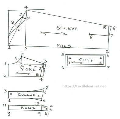 Drafting of other parts of long sleeve woven shirt