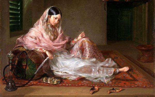 A woman in Dhaka wearing muslin saree during 18th century