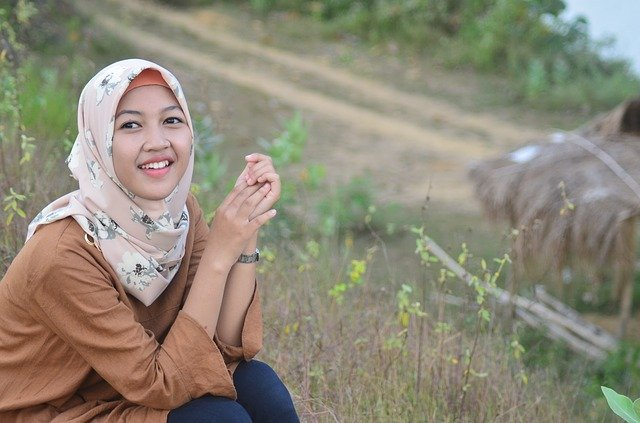 A girl with wearing hijab