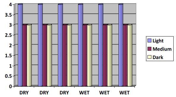 Rubbing Fastness Shade Comparison Chart Diagram