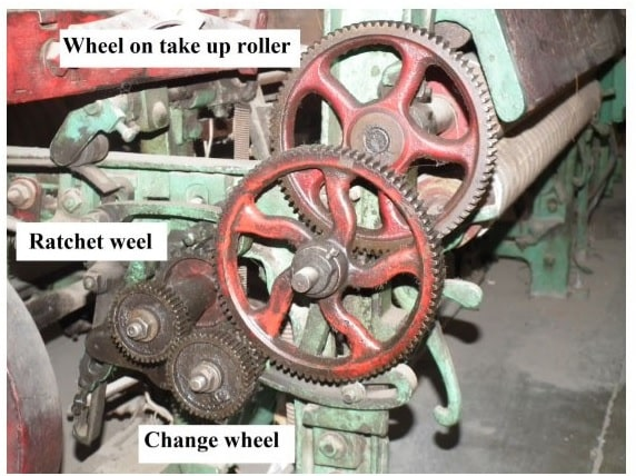 Seven wheel Take-up motion mounted on loom