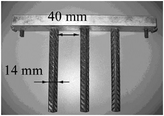 Dimensions of reinforcement bars in the L-box test