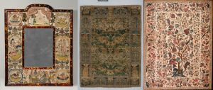 Left: Mirror with Jael and Barak (British, 1672; Metropolitan Museum of Art Purchase Mrs. Thomas J. Watson Gift, 1939, 39.13.2a) Center: Pictorial carpet (Iran, 17th century; Metropolitan Museum of Art Gift of C. Ruxton Love Jr., 1967, 67.2.2) Right: Palampore (Indian – Coromandel Coast, mid-18th century; Museum of Fine Arts, Boston, Gift of Mrs. Frank Clark, 1957, 57.168)