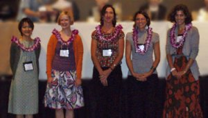 Student / New Professional Scholarship recipients at the 2008 Symposium in Hawaii. From left to right: Nao Nomura, Margarete Ordon, Anne Peranteau, Lesli Robertson, Sarah Scaturro.