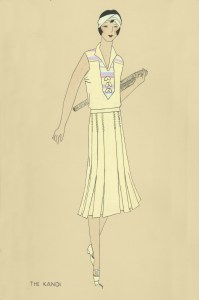 Drawing illustrating dress made with Churchill Weavers yardage, ca. 1930