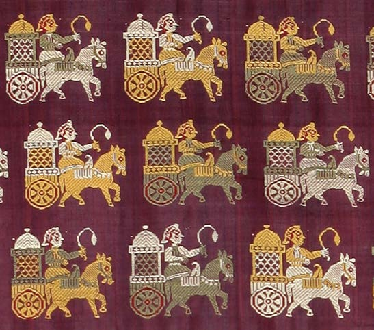 Horse-drawn carriage; detail of sari, early- to mid-19th century, catalogue # 8: courtesy Tapi Collection