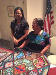 Artist Carmen Maldonado Garcia and interpreter Reyna Pretzantzin  during interactive session