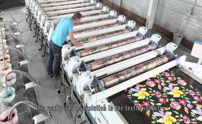 Rotary screen printing used in textile
