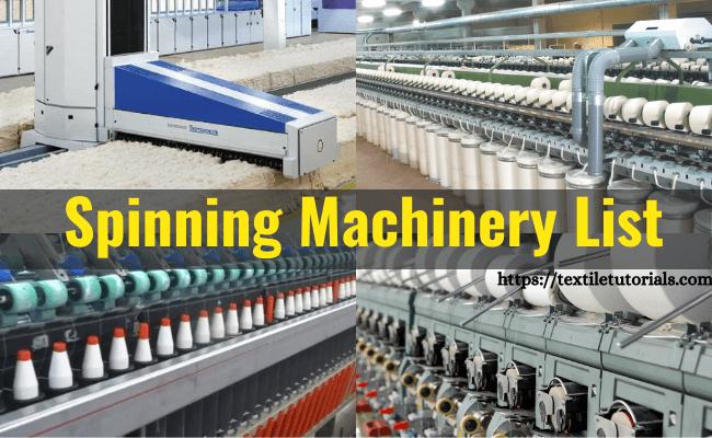 Spinning mill machine list
