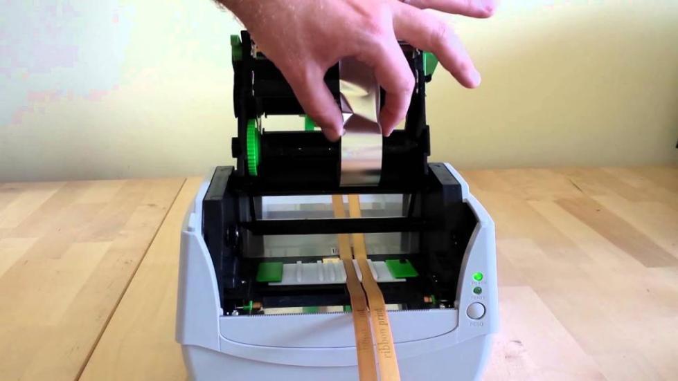 заправка риббона в принтер