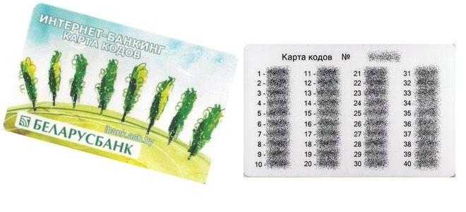 "Карта кодов ""Беларусбанка"""