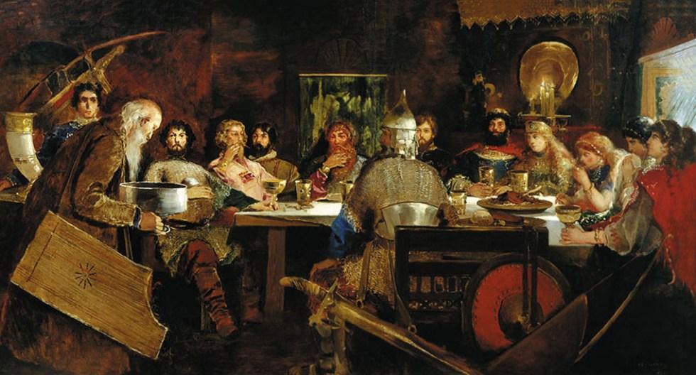 Князь с дружинниками в гриднице